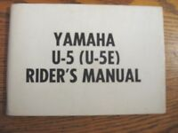1965 - 1969 Yamaha Motorcycle U-5 U-5E Rider's Owner's Manual, Original Xlnt