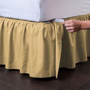 Ashton Detachable Dust Ruffle Ruffled Bed Skirt EasyOn/EasyOff Comes in 9 colors