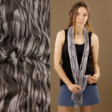 Sensual Soft Stretch Crinkle Scarf Wrap Shimmery White Zebra Pattern Sheer Shawl
