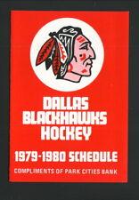 Dallas Blackhawks--1979-80 Pocket Schedule--Park Cities Bank--CHL