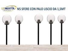 PZ5 LAMPIONE LAMPIONCINO DA GIARDINO KIT COMPLETO  CON PALO E SFERA TRASPARENTE