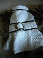White Quilted Pleated And Belted Coat For Dogs Size Medium
