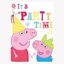 6 Peppa Pig Invitation Cards with Envelops for Birthday Party, Decoration