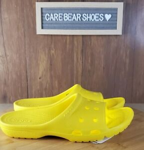 CROCS Coast Slide Sandals Yellow Open Toe Backless Shoes Size Mens 6 / Womens 8