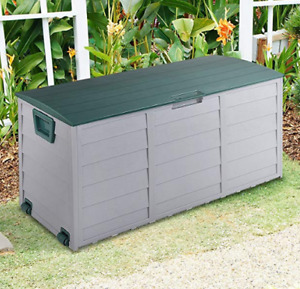 OUTDOOR GARDEN PLASTIC STORAGE SEAT UTILITY CHEST CUSHION SHED BOX TOOLS