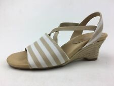 A2 by Aerosoles Boyzenberry Espadrille Wedge Sandals Size 7M, Tan Stripe 1046