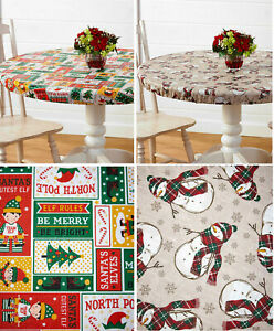 Fitted Christmas PEVA Vinyl Tablecloth Round OR Oval Elastic Holiday Table Cover