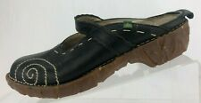 El Naturalista Yggdrasil Mules Clogs Black Leather Casual Slides Womens 39 8.5