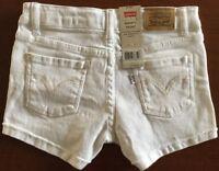 NWT LEVI'S GIRLS SIZE 6X REG ~ OFF-WHITE STRETCH DENIM SHORTY SHORTS MSRP $36.00
