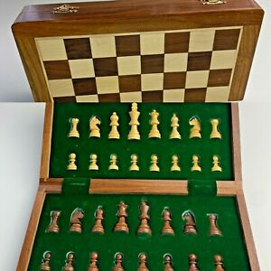 Wooden Chess Set Wood Board Carved Folding Game Crafted Wood Pieces Felt Bottom