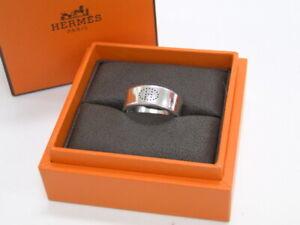 Auth HERMES Women's Accessory Ring Evelyne 53 H Logo Silver 925 20180082700 K