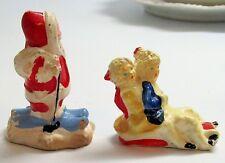 Santa Claus & Sledders, 2 Little German Hand Painted Christmas Figures