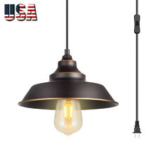 Indoor Pendant Lamp 1-Light Ceiling Hanging Light With Plugin Cord On/Off Switch