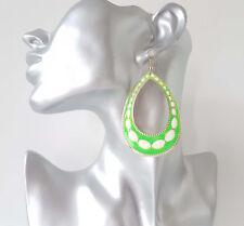 Pretty & bright neon green  & white teardrop shape long drop - dangle earrings