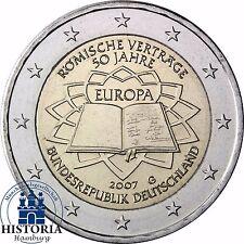 Deutschland 2 Euro Römische Verträge 2007 bankfrisch Gedenkmünze Münzzeichen G