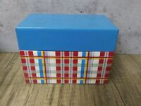 VINTAGE Plaid Recipe Box Ohio Art Co. USA Painted Tin Box Red Teal Yellow White