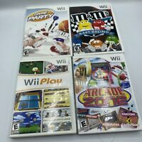 Lot of 4 Nintendo Wii Games Wii Play Game Party Arcade Zone M&M Kart Racing Work