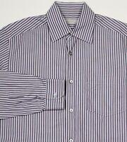 Ermenegildo Zegna Recent Brown/Blue Striped Cotton Dress Shirt Men's Medium
