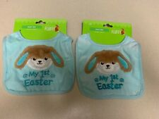 Lot of 2 Happy Go Fluffy My First 1st Easter Baby Boy Blue Bunny Bibs New