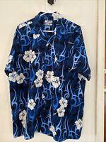 Pineapple Connection Aloha Hawaiian Shirt, Blue Hibiscus Tribal Print, Sz L MINT
