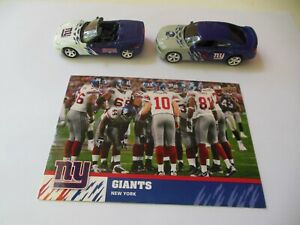New York Giants 2006 Chevrolet Corvette and 2008 Charger Upper Deck NFL Toy Cars