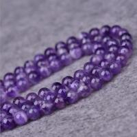 1 Pc Amethyst Beads Smooth Round Natural Gemstone 4mm 6mm 8mm Accessories Gift