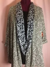 NWT Faded Glory 4X 26W-28W Plus Black Sweater Cardigan w/ Paisley Scarf Top P21