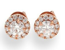 18Carat Rose Gold Diamond (0.76TCW) Halo Solitaire Stud Earrings (7mm Diameter)