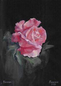original painting A4 162PK art samovar acrylic Modern flower rose Signed 2021