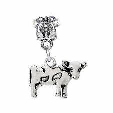 Cow Farm Animal Dairy Milk Dangle Charm for Silver European Bead Bracelets