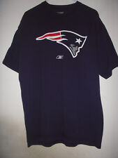 REEBOK New England Patriots Blue T Shirt L + Iron Sew On Large Patch Silver Logo