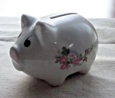 WHITE PORCELAIN PIGGY BANK - PINK FLOWERS & GREEN LEAVES