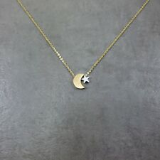 Crescent Moon GOLD Plated Necklace Star Islam Muslim Ottoman Arab Waxing Turkey