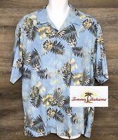 Tommy Bahama Mens 100% Silk Light Blue Floral Hawaiian Short Sleeve Camp Shirt L