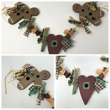 Gingerbread Men and Heart Wall Hanging Country Christmas Decor