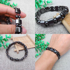 Natural Stone Hematite Magnetic Bracelet Black Beads Therapy Health Care Stretch