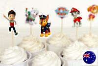 24 PAW PATROL Kids Boys Party Cupcake Cakes Decorating Toppers Picks Flags