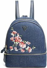 NEW GUESS Women's Natalia Blue Denim Pink Floral Embroidery Backpack Handbag