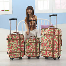 Carry-on Rolling Upright Lightweight Flower Garden Softside Suitcase Luggage 20""