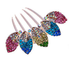 Luxury Sparkle Crystal Colourful Leaves Wedding Hair Accessories Comb HA164