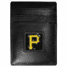 PITTSBURGH PIRATES MLB FINE GRAIN LEATHER CARDHOLDER MONEY CLIP WALLET, BOXED