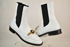 VERSACE WHITE LEATHER BLACK ELASTIC GOLD CHAIN MEDUSA MEDALLION ANKLE BOOTS 40