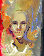 Listed Artist - Acrylic on Board - 8x10 inches - Head Study of a Young Man -