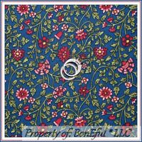 BonEful Fabric FQ Cotton Quilt Blue Pink VTG Flower Colonial Williamsburg Calico