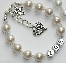 Personalised Flower girl stocking filler birthday gift bag charm bracelet