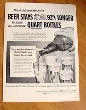 1956 Beer Ad Party Quarts Bottle Neck Aids Flavor Peak