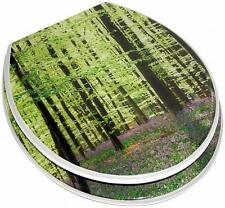 TRANQUIL GREEN FOREST NATURE SCENE TREES LAVENDER RESIN TOILET SEAT METAL HINGES