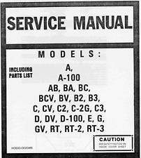 HAMMOND ORGAN SERVICE MANUAL A,B,C,D,E,G,RT MODELS HARD COPY