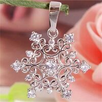 Snowflake Silver Plated Cubic Zirconia Women Girls Necklace Pendant Party Gifts