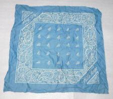Blue Handkerchief Cotton Printed Western Wells Fargo Paisley 21 x 21 Square